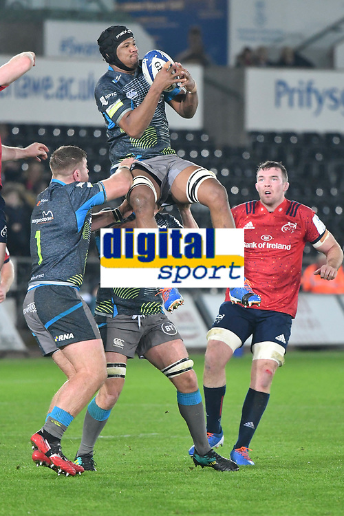 Rugby Union - 2019 / 2020 Champions Cup: Ospreys vs. Munster<br /> <br /> Morgan Morris of Ospreys leaps to take the ball from a kick off, at The Liberty Stadium.<br /> <br /> COLORSPORT/WINSTON BYNORTH