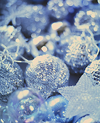 Close up of silver Christmas baubles