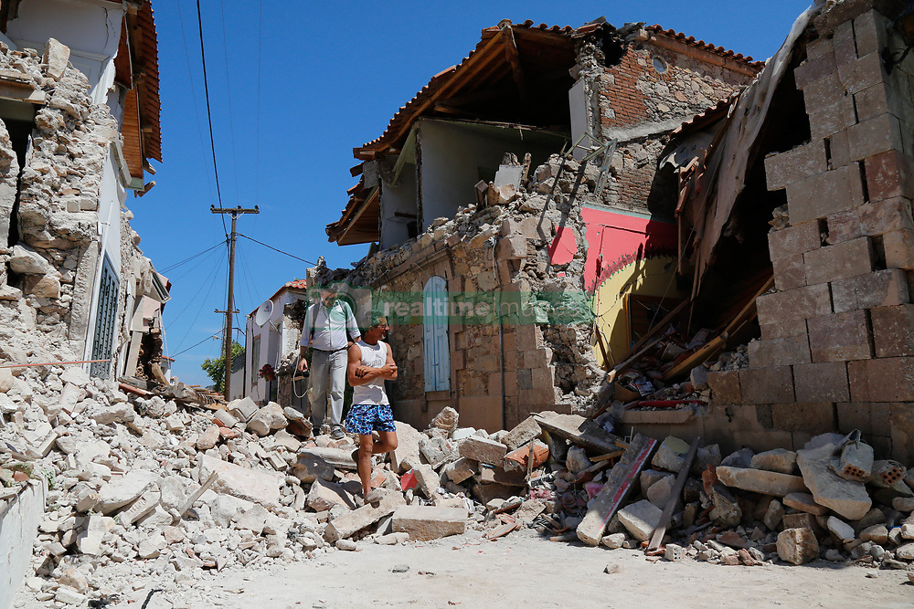 June 13, 2017 - Vrissa-Lesvos Island, Greece - A house is seen damaged after an earthquake in Lesvos Island. Rescue workers reached the body of 45-year-old woman trapped under the rubble of a fallen house in Vrisa, Lesvos following 12 June's earthquake but she was already dead, authorities reported. A 6.3- magnitude earthquake struck with it's epicentre near the coast of Greek island Lesbos. (Credit Image: © Eurokinissi via ZUMA Wire)