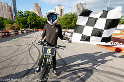 Nicole Pitman was the big winner (won the bike!) of the Super 73 electric bike races during the Revival and Roland Sands sponsored races set up in the parking lot of the Austin American Statesman outside the Handbuilt Show. Austin, Texas USA. Saturday, April 13, 2019. Photography ©2019 Michael Lichter.