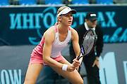 Moscow, Russia, 15/10/2004..The WTA Kremlin Cup tennis tournament. Elena Dementieva defeats Svetlana Kuznetsova in women's singles quarter final..