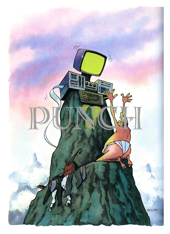 (Naked businessman on a mountain peak praying to a computer god)