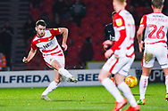 Ben Whiteman of Doncaster Rovers (8) passes the ball forward during the EFL Sky Bet League 1 match between Doncaster Rovers and Southend United at the Keepmoat Stadium, Doncaster, England on 12 February 2019.