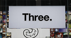 A logo for mobile network Three on a branch at Oxford Street, London. Picture dated: Thursday September 13, 2018. Photo credit should read: Isabel Infantes / EMPICS Entertainment.