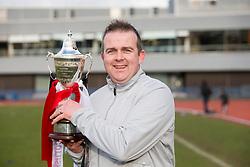 Edinburgh City's manager Gary Jardine. Edinburgh City crowned champions. <br /> Edinburgh City 0 v 0 Gretna FC2008, Scottish Sun Lowland League game played at Meadowbank Stadium, 28/3/2015.