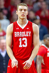 NORMAL, IL - February 16: Luuk Van Bree during a college basketball game between the ISU Redbirds and the Bradley Braves on February 16 2019 at Redbird Arena in Normal, IL. (Photo by Alan Look)