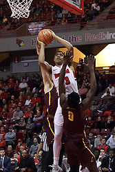 10 January 2018:  William Tinsley gets called for an offensive foul while going to the hoop against Donte Ingram during a College mens basketball game between the Loyola Chicago Ramblers and Illinois State Redbirds in Redbird Arena, Normal IL