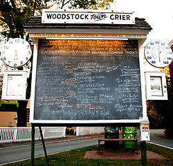 TheTown Crier is a community bulletin board in the heart of town that lists nearly everything going on in Woodstock.
