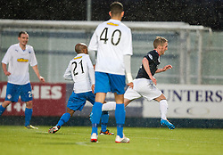 Falkirk's Craig Sibbald brought down fot their second penalty.<br /> Falkirk 1 v 1 Morton, Scottish Championship game today at The Falkirk Stadium.<br /> © Michael Schofield.