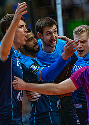 18-05-2019 GER: CEV CL Super Finals Zenit Kazan - Cucine Lube Civitanova, Berlin<br /> Civitanova win the Champions League by beating Zenit in four sets / Matthew John Anderson #1 of Zenit Kazan, Earvin Ngapeth #9 of Zenit Kazan, Artem Volvich #4 of Zenit Kazan