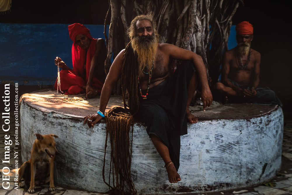 A sadhu, or holy man, in Mumbai, India. The hair of these holy men sometimes grows to 12 feet or even longer.