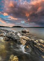 Sunset along the rocky coast of Damariscotta, Maine