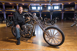 Ron Weber with his water-cooled 1941 EL Petruzzi Knucklehead built by Ron with Dalton Walker. At the Mama Tried Show. Milwaukee, WI. USA. Sunday February 25, 2018. Photography ©2018 Michael Lichter.