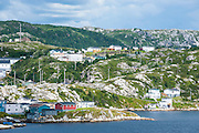 Overlook over the remote pretty fishing village of Rose blanche, Newfoundland, Canada