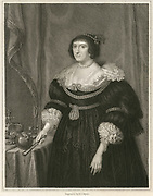 'Elizabeth Stuart (1596-1662) Queen of Bohemia, daughter of James I of Englandd VI of Scotland. Married in 1613 Frederick V, Elector Palatine 1610-1623, King of Bohemia 1619-1620.  Known as the Winter Queen, she spent much of her exile in The Hague. Engraving.'