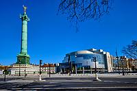 France, Paris (75), Place de la Bastille et l'Opera Bastille durant le confinement du Covid 19 // France, Paris, Bastille square and Opera during the containment of Covid 19