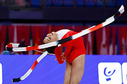 Jalilova Arzu from Azerbaijan during the qualification for the Individual Rhythmic Gymnastics World Cup at Vitrifrigo Arena on May 28-29, 2021, in Pesaro, Italy. She was born in Baku, June 4, 2004.