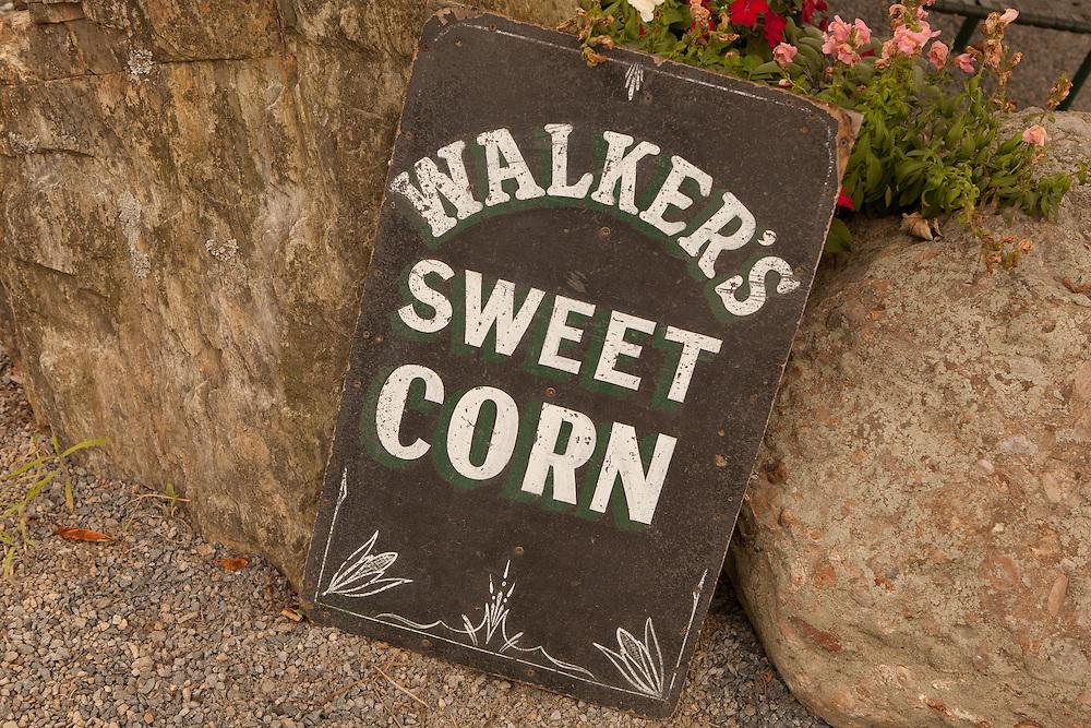 Sign, Walker's Roadside Stand, Little Compton, Rhode Island.