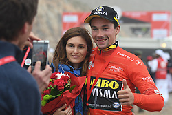 March 1, 2019 - Jebel Jais, United Arab Emirates - Primoz Roglic of Slovenia and Team Jumbo - Visma, poses for a photo, after he wins the sixth Rak Properties Stage of UAE Tour 2019, ahead of Tom Dumoulin (Sunweb Team), a 180km with a start from Ajman and finish in Jebel Jais. .On Friday, March 1, 2019, in Jebel Jais, Ras Al Khaimah Emirate, United Arab Emirates. (Credit Image: © Artur Widak/NurPhoto via ZUMA Press)