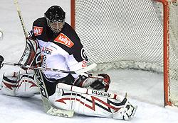 Goalkeeper of Jesenice Gaber Glavic at 39th Round of EBEL League ice hockey match between HDD Tilia Olimpija and HK Acroni Jesenice, on December 30, 2008, in Arena Tivoli, Ljubljana, Slovenia. Tilia Olimpija won 4:3. (Photo by Vid Ponikvar / SportIda).