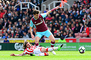 Havard Nordtveit of West Ham is tackled by Joe Allen of Stoke city.  Premier league match, Stoke City v West Ham Utd at the Bet365 Stadium in Stoke on Trent, Staffs on Saturday 29th April 2017.<br /> pic by Bradley Collyer, Andrew Orchard sports photography.