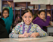 Prisila Gutierrez poses for a photograph at Herrera Elementary School, February 13, 2015.