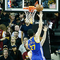 07 June 2017: Golden State Warriors center Zaza Pachulia (27) goes for the baby hook during the Golden State Warriors 118-113 victory over the Cleveland Cavaliers, in game 3 of the 2017 NBA Finals, at  the Quicken Loans Arena, Cleveland, Ohio, USA.