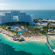 Aerial view of Riu Hotels Cancun. Quintana roo. Mexico.