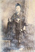 young adult person wearing kimono Japan ca 1930s
