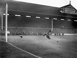 Tottenham goalkeeper Ted Ditchburn, in action.