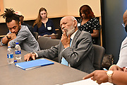 6/23/21  Civil Rights maverick, author  and Mississippi's Native son, James Meredith listens as students discuss what its like for them to be a Black student or educator during a roundtable discussion with students from the The Breck School. Students on grades 9-12 were able to ask Mr. Meredith questions regarding his thoughts on racism and how to be effective future leaders. Meredith is in Minnesota for More Than A Moment, a series of roundtable discussions with students, educators, lawyers, and community leaders. Minnijean Brown Trickey one of the Little Rock Nine was also part of the roundtable discussions, she was connected via the internet from Ontario Canada. Meredith discussed methods and ways to combat racism in America and emphasized the importance of speaking the truth and working together to make change for the better in our communities. Photo © Suzi Altman