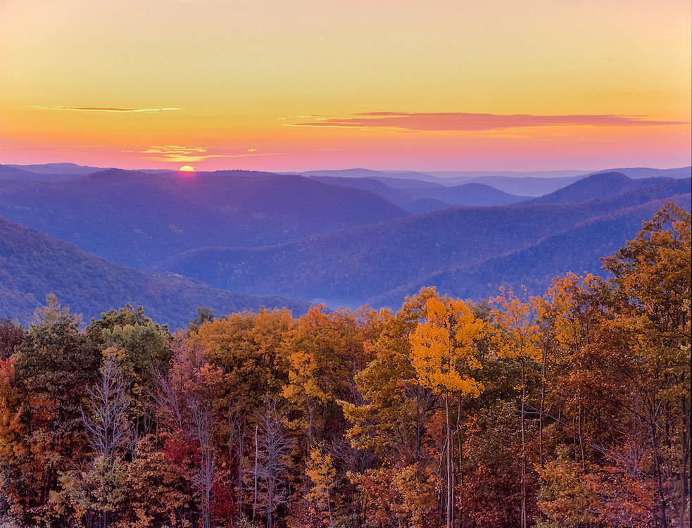 Sunrise cresting over Berkshire Hills in fall, from Mohawk Trail, foreground trees in fall foliage, purple mountain ridgelines, pink color in sky & clouds, Florida, MA