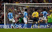 Photo: Jed Wee.<br /> Manchester City v Arsenal. The Barclays Premiership. 04/05/2006.<br /> <br /> Jose Antonio Reyes' shot beats the diving David James to cap their win.