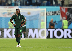 SAINT PETERSBURG, June 26, 2018  Nigeria's Bryan Idowu reacts after the 2018 FIFA World Cup Group D match between Nigeria and Argentina in Saint Petersburg, Russia, June 26, 2018. Argentina won 2-1 and advanced to the round of 16. (Credit Image: © Yang Lei/Xinhua via ZUMA Wire)