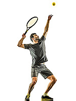 one caucasian mature tennis player man serving service  in studio isolated on white background