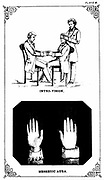 Hypnosis: Introvision (power of looking into a body) 'The most practical and valuable aspect of supersensuous perception, is known as introvision' Patient, seated right, with introvisional subject, left, and assistant From William Davey 'The Illustrated Practical Mesmerist', London, 1889.  Lithograph.