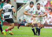 Twickenham, Surrey, United Kingdom.  Will COLLIER, suppoted by, Charlie EWELS,during the, Old Mutual Wealth Cup, England vs Barbarian's match, played at the  RFU. Twickenham Stadium, on Sunday   28/05/2017England    <br /> <br /> [Mandatory Credit Peter SPURRIER/Intersport Images]