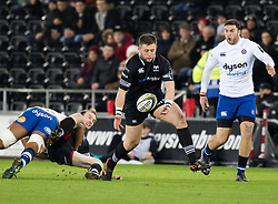 Ospreys' Scott Otten is unable to take the ball<br /> <br /> Photographer Simon King/Replay Images<br /> <br /> Anglo-Welsh Cup Round 4 - Ospreys v Bath Rugby - Friday 2nd February 2018 - Liberty Stadium - Swansea<br /> <br /> World Copyright © Replay Images . All rights reserved. info@replayimages.co.uk - http://replayimages.co.uk