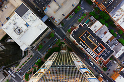Aerial view of downtown Nashville, Tennessee.