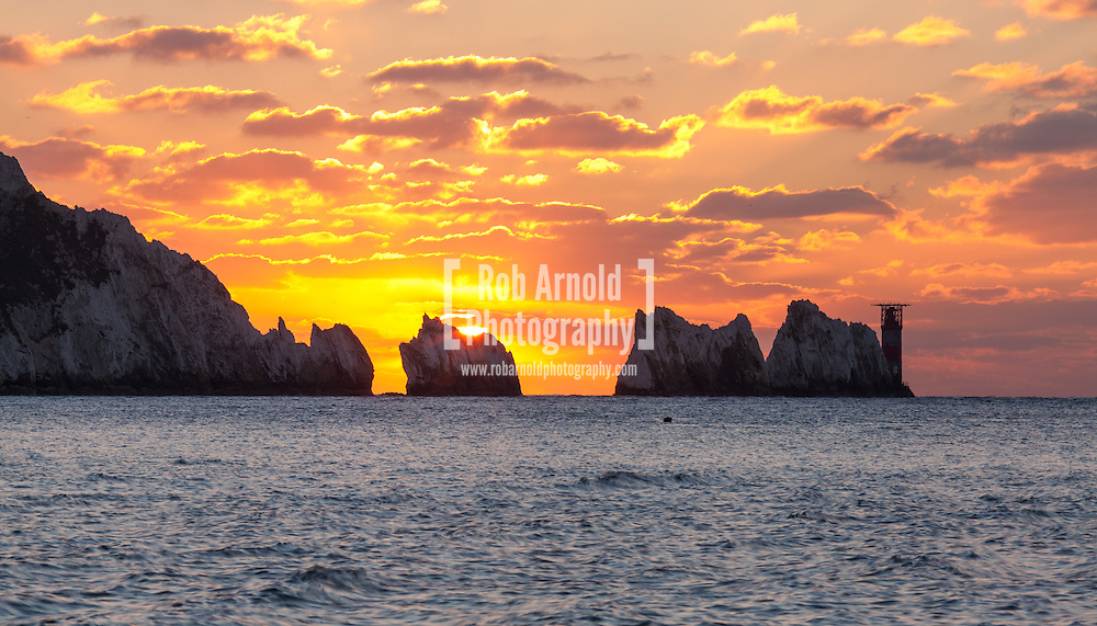 Sunset through the Needles, seen from Alum Bay