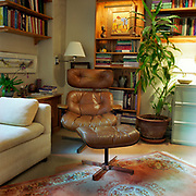 A brown Eames chair and footrest on a beige rug with an Oriental carpet in the foreground. There is a large plant to the right, a sofa on the left, illuminated by a window, and bookshelves and artwork behind to both left and right of the chair.