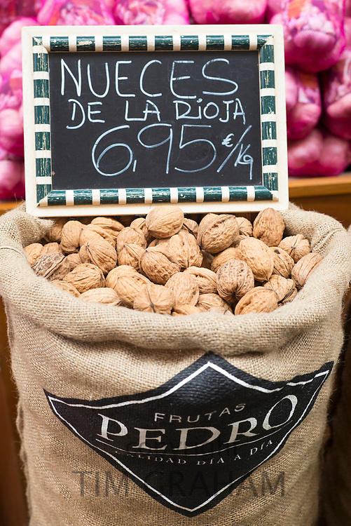 Spanish walnuts from Rioja in a food market in Logrono, Basque Country, Spain