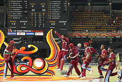 © Licensed to London News Pictures. 07/10/2012. The West Indian team run onto the stage during the trophy presentation during the World T20 Cricket Mens Final match between Sri Lanka Vs West Indies at the R Premadasa International Cricket Stadium, Colombo. Photo credit : Asanka Brendon Ratnayake/LNP