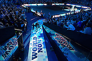 Andy Murray of Great Britain and mascot enter the arena during day four of the Barclays ATP World Tour Finals at the O2 Arena, London, United Kingdom on 16 November 2016. Photo by Martin Cole.
