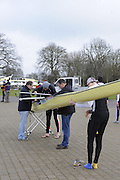 Eton, GREAT BRITAIN,  GB Coaches, Christian FELKEL (left) and John WEST (right), prepare boat for racing, GB Trials 3rd Winter assessment at,  Eton Rowing Centre, venue for the 2012 Olympic Rowing Regatta, Trials cut short due to weather conditions forecast for the second day Saturday  12/02/2011   [Photo, Peter Spurrier/Intersport-images]