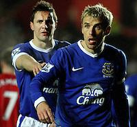 Everton's Phil Neville and Phil Jagielka...- Credit - CameraSport - James Marsh - ..Football - Barclays Premiership - Southampton v Everton - Monday 21st January 2013 - St Mary's - Southampton..