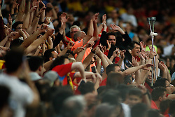 June 10, 2019 - Madrid, MADRID, SPAIN - Fans of Spain during the 2020 UEFA European Championships group F, European Qualifiers, played between Spain and Sweden at Santiago Bernabeu Stadium in Madrid, Spain, on June 10, 2019. (Credit Image: © AFP7 via ZUMA Wire)