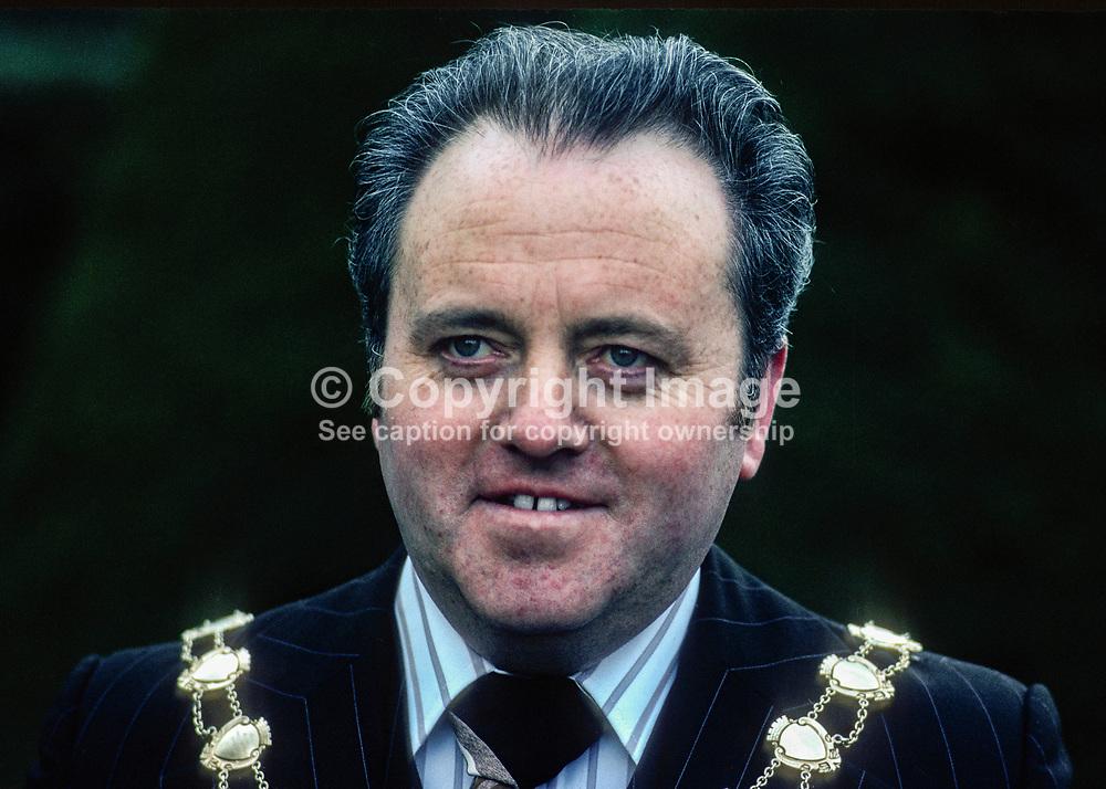 John McCauley, Mayor, Ballymena, Co Antrim, N Ireland, UK, March, 1978, 1978030104<br /> Copyright Image from images4media.com (or the named photographer)