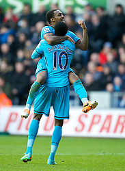 19.01.2014, Liberty Stadion, Swansea, ENG, Premier League, Swansea City vs Tottenham Hotspur, 22. Runde, im Bild Tottenham Hotspur's Emmanuel Adebayor celebrates scoring the third goal against Swansea City // during the English Premier League 22th round match between Swansea City AFC and Tottenham Hotspur at the Liberty Stadion in Swansea, Great Britain on 2014/01/19. EXPA Pictures © 2014, PhotoCredit: EXPA/ Propagandaphoto/ David Rawcliffe<br /> <br /> *****ATTENTION - OUT of ENG, GBR*****