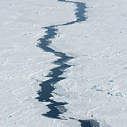 A lead in the winter ice of the Beaufort Sea Ice pack. Kaktovik, Alaska.
